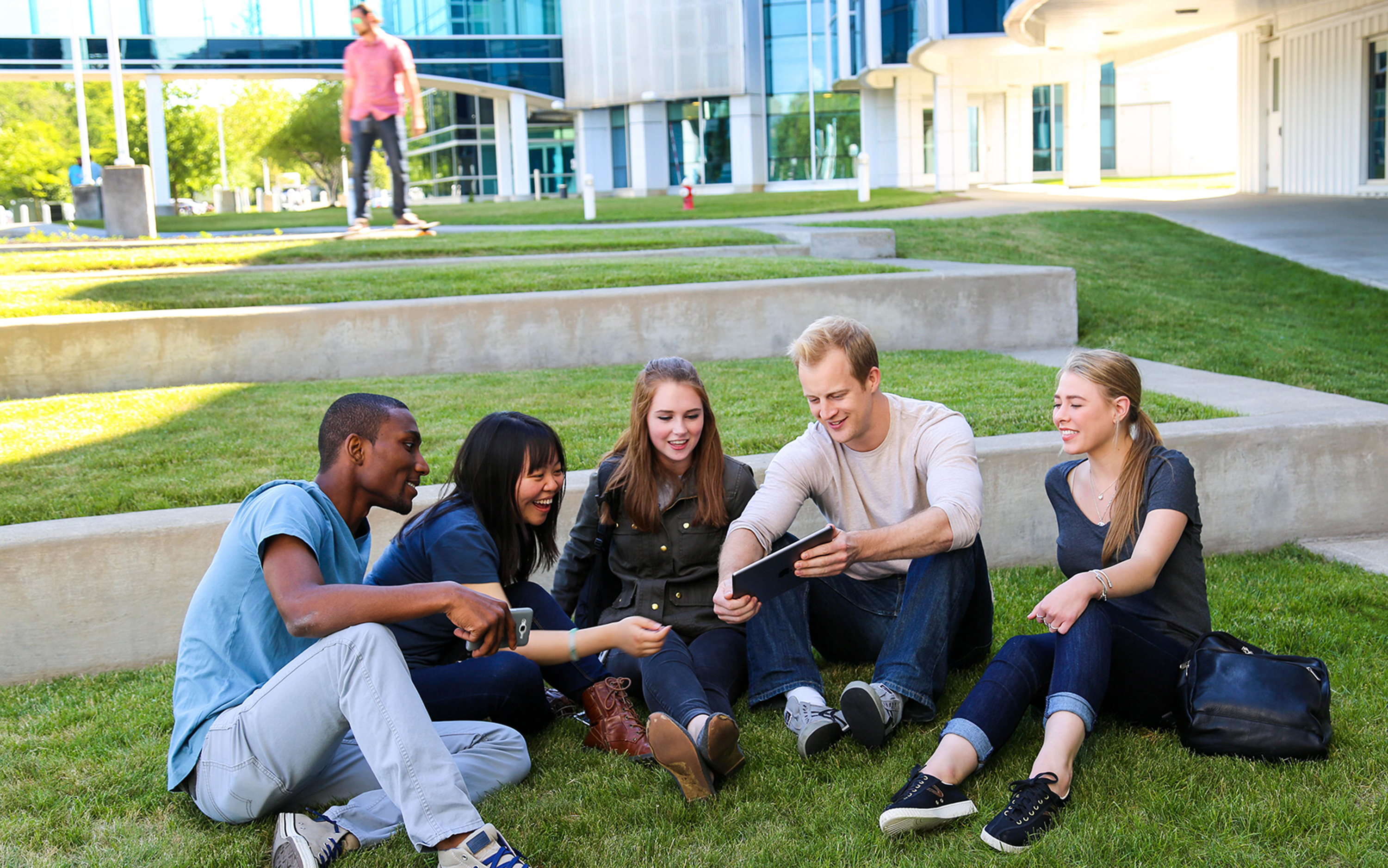 Students hanging out on SUNY Poly's Albany Campus