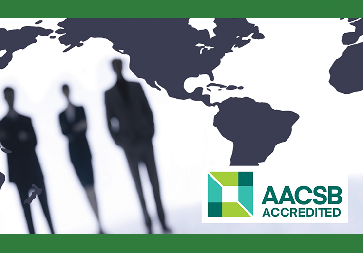 illustrative photo of accountants for Accounting with AACSB logo
