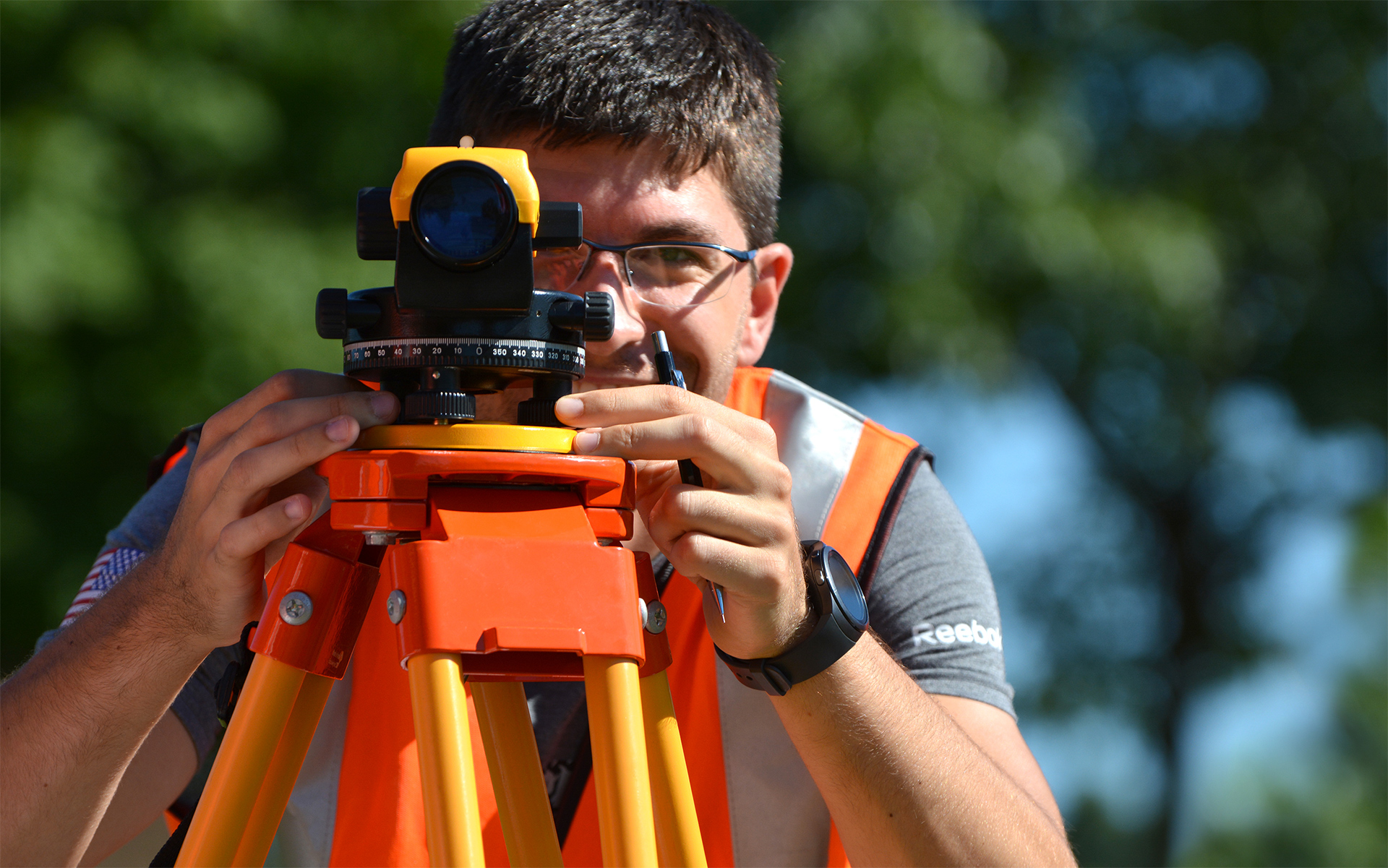 Civil Engineering student works on his surveying skills
