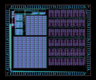 "Layout of the ""mrDANNA"" CMOS-memristor neuromorphic chip designed in conjunction with UT-Knoxville and currently being fabricated by SUNY Poly"