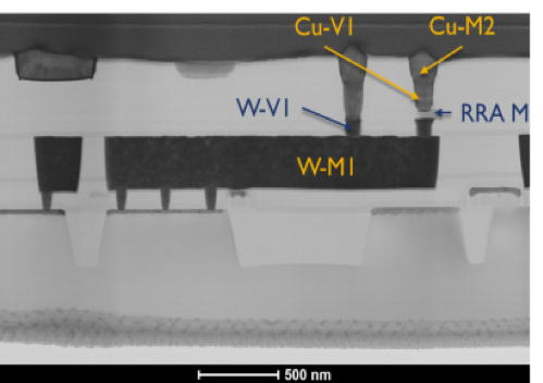 Cross-section of a hybrid CMOS-memristor 1T1R circuit fabricated in Prof. Cady's group at SUNY Poly