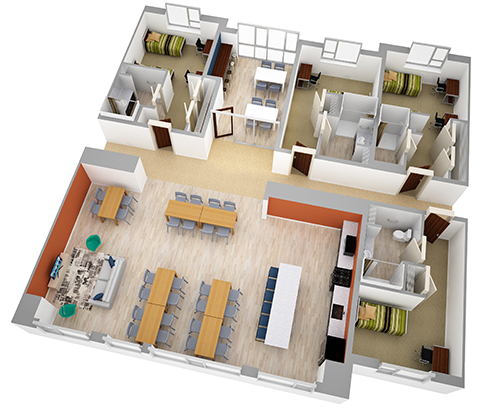 Hilltop Hall floorplan rendering