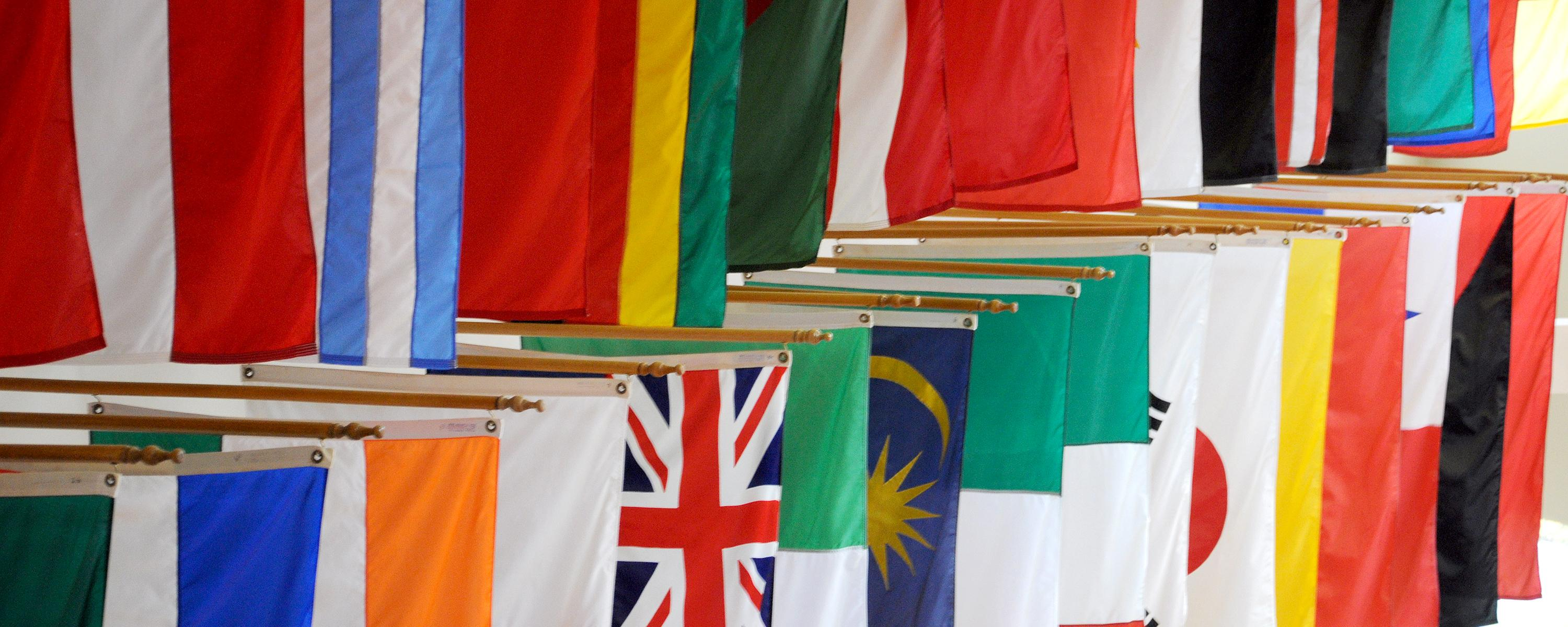 International Admissions - illustrative photo of flags in the Student Center