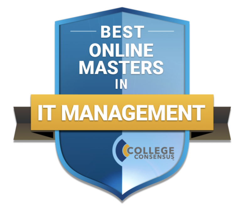 shield with the label, College Consensus' best online master's in IT management